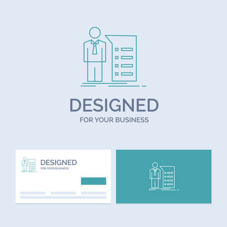 Business, explanation, graph, meeting, presentation Business Logo Line Icon Symbol for your business. Turquoise Business Cards with Brand logo template