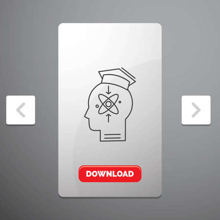 capability, head, human, knowledge, skill Line Icon in Carousal Pagination Slider Design & Red Download Button
