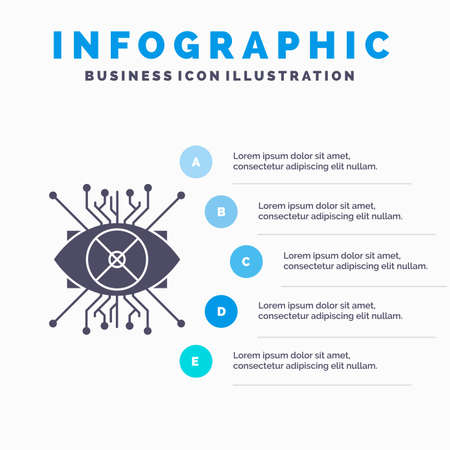 Ar, augmentation, cyber, eye, lens Infographics Template for Website and Presentation. GLyph Gray icon with Blue infographic style vector illustration.