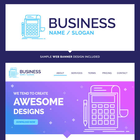 Pink and Blue background Website Header Design template. Place for Slogan / Tagline. Exclusive Website banner and Business Logo design Template
