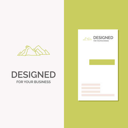 Business Logo for mountain, landscape, hill, nature, scene. Vertical Green Business / Visiting Card template. Creative background vector illustration
