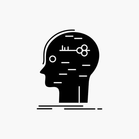 brain, hack, hacking, key, mind Glyph Icon. Vector isolated illustration Иллюстрация
