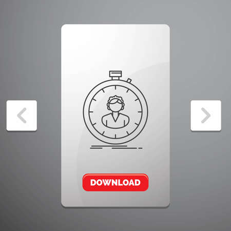 fast, speed, stopwatch, timer, girl Line Icon in Carousal Pagination Slider Design & Red Download Button Stock Illustratie