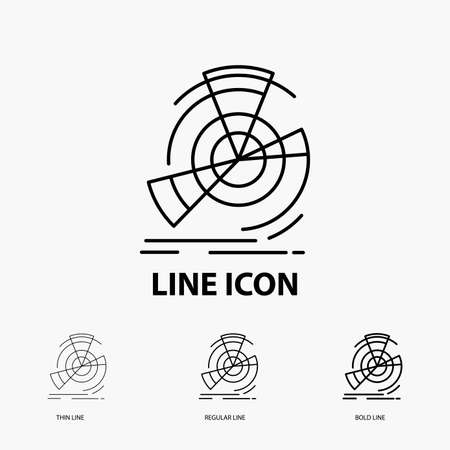 Data, diagram, performance, point, reference Icon in Thin, Regular and Bold Line Style. Vector illustration Ilustração Vetorial