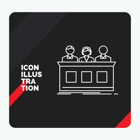 Red and Black Creative presentation Background for competition, contest, expert, judge, jury Line Icon