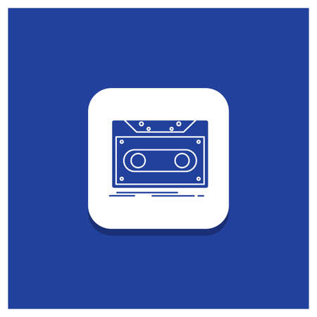 Blue Round Button for Cassette, demo, record, tape, record Glyph icon