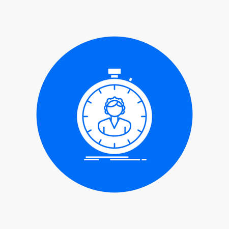 fast, speed, stopwatch, timer, girl White Glyph Icon in Circle. Vector Button illustration Stock Illustratie