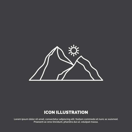 hill, landscape, nature, mountain, scene Icon. Line vector symbol for UI and UX, website or mobile application