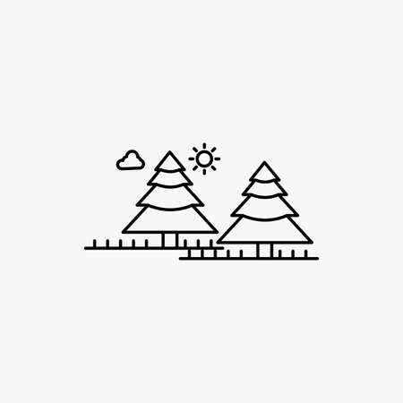 forest, camping, jungle, tree, pines Line Icon. Vector isolated illustration