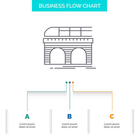metro, railroad, railway, train, transport Business Flow Chart Design with 3 Steps. Line Icon For Presentation Background Template Place for text