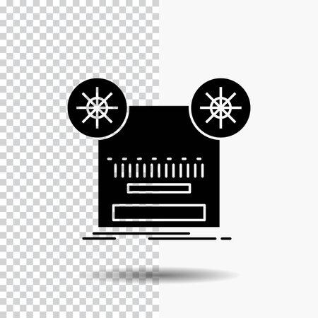 Record, recording, retro, tape, music Glyph Icon on Transparent Background. Black Icon 向量圖像