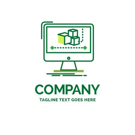 Animation, computer, editor, monitor, software Flat Business Logo template. Creative Green Brand Name Design.