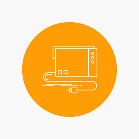 audio, card, external, interface, sound White Line Icon in Circle background. vector icon illustration