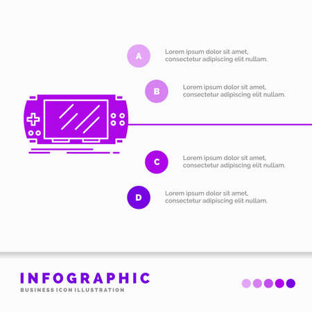 Console, device, game, gaming, psp Infographics Template for Website and Presentation. GLyph Purple icon infographic style vector illustration.