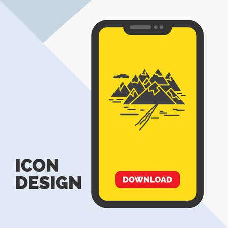 Mountain, hill, landscape, rocks, crack Glyph Icon in Mobile for Download Page. Yellow Background 向量圖像