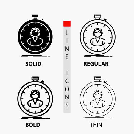 fast, speed, stopwatch, timer, girl Icon in Thin, Regular, Bold Line and Glyph Style. Vector illustration