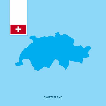 Switzerland Country Map with Flag over Blue background Ilustração