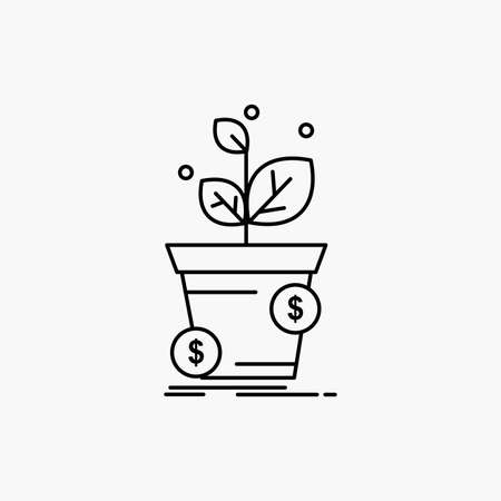 dollar, growth, pot, profit, business Line Icon. Vector isolated illustration