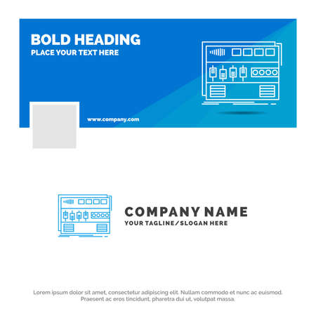 Blue Business Logo Template for Audio, mastering, module, rackmount, sound. vector web banner background illustration
