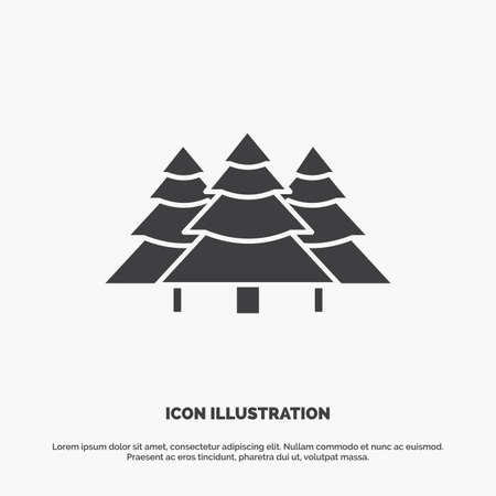 forest, camping, jungle, tree, pines Icon. glyph vector gray symbol for UI and UX, website or mobile application