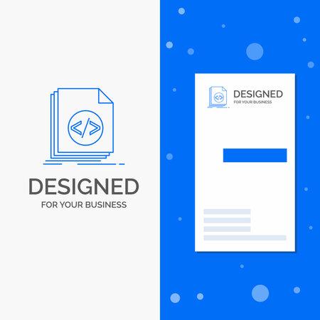 Business Logo for Code, coding, file, programming, script. Vertical Blue Business / Visiting Card template Ilustração