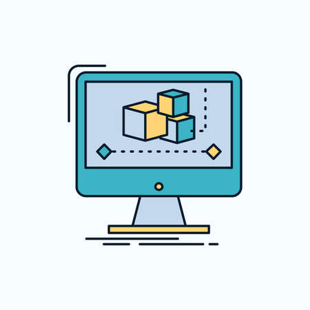 Animation, computer, editor, monitor, software Flat Icon. green and Yellow sign and symbols for website and Mobile appliation. vector illustration