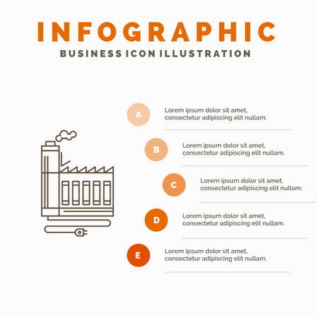 Consumption, resource, energy, factory, manufacturing Infographics Template for Website and Presentation. Line Gray icon with Orange infographic style vector illustration