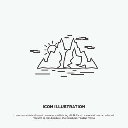 Nature, hill, landscape, mountain, water Icon. Line vector gray symbol for UI and UX, website or mobile application