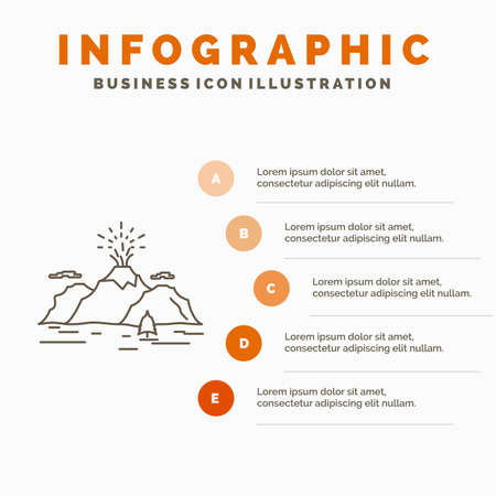 Nature, hill, landscape, mountain, blast Infographics Template for Website and Presentation. Line Gray icon with Orange infographic style vector illustration