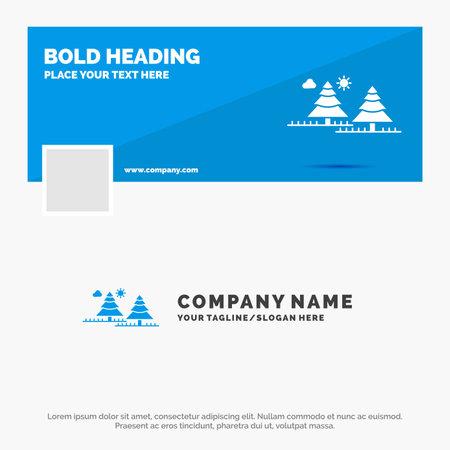 Blue Business Template for forest, camping, jungle, tree, pines. Timeline Banner Design. vector web banner background illustration