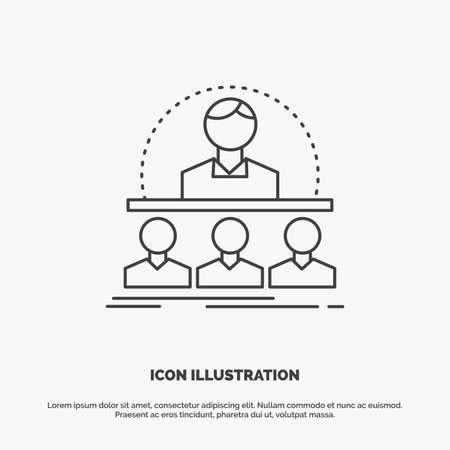 Business, coach, course, instructor, mentor Icon. Line vector gray symbol for UI and UX, website or mobile application Ilustração