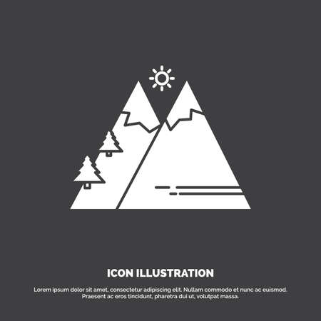 Mountains, Nature, Outdoor, Sun, Hiking Icon. glyph vector symbol for UI and UX, website or mobile application