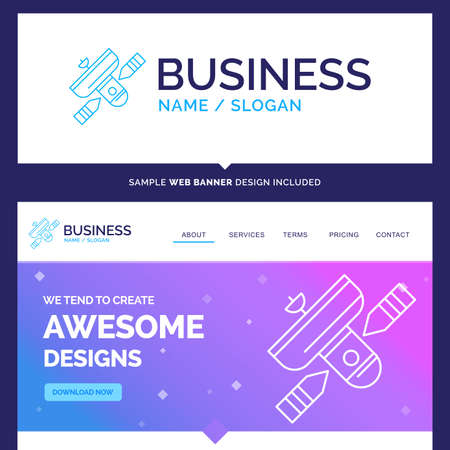 Beautiful Business Concept Brand Name Broadcast, broadcasting, radio, satellite, transmitter Design and Pink and Blue background Website Header Design template. Place for Slogan / Tagline.