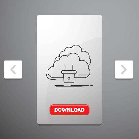 Cloud, connection, energy, network, power Line Icon in Carousal Pagination Slider Design & Red Download Button