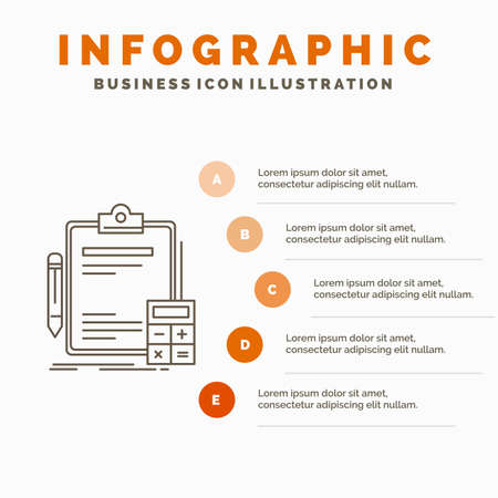 Accounting, banking, calculator, finance, Audit Infographics Template for Website and Presentation. Line Gray icon with Orange infographic style vector illustration