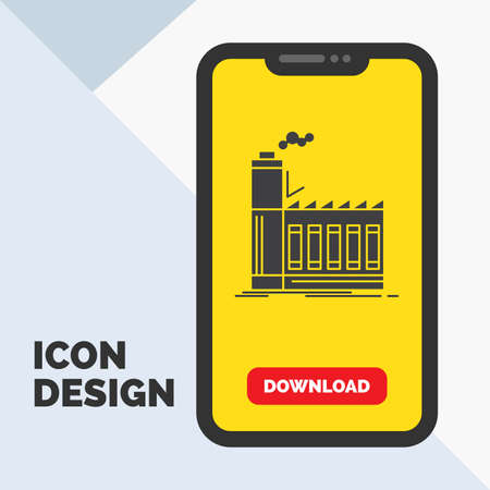 Factory, industrial, industry, manufacturing, production Glyph Icon in Mobile for Download Page. Yellow Background