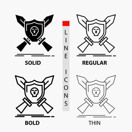 Badge, emblem, game, shield, swords Icon in Thin, Regular, Bold Line and Glyph Style. Vector illustration