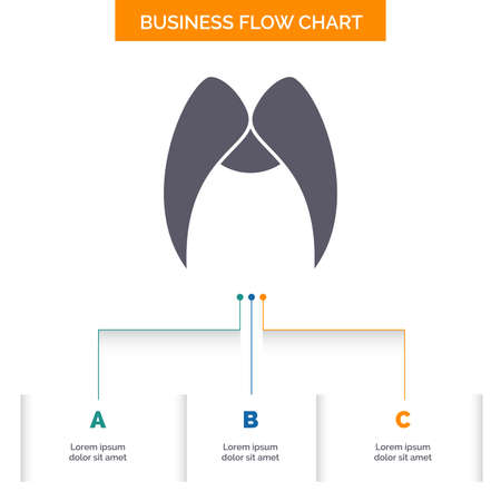 moustache, Hipster,  male, men Business Flow Chart Design with 3 Steps. Glyph Icon For Presentation Background Template Place for text.
