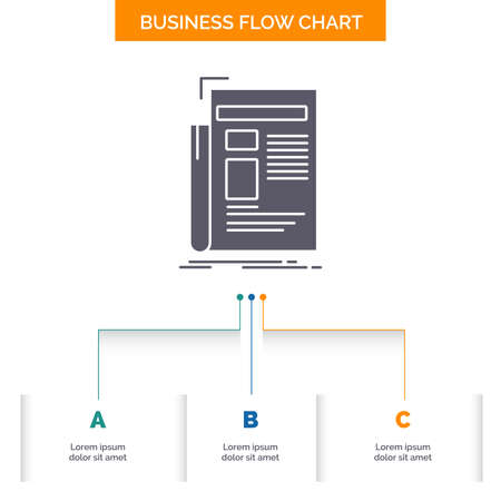 Gazette, media, news, newsletter, newspaper Business Flow Chart Design with 3 Steps. Glyph Icon For Presentation Background Template Place for text.