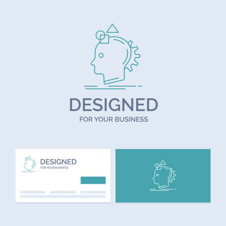 Imagination, imaginative, imagine, idea, process Business Line Icon Symbol for your business. Turquoise Business Cards with Brand template