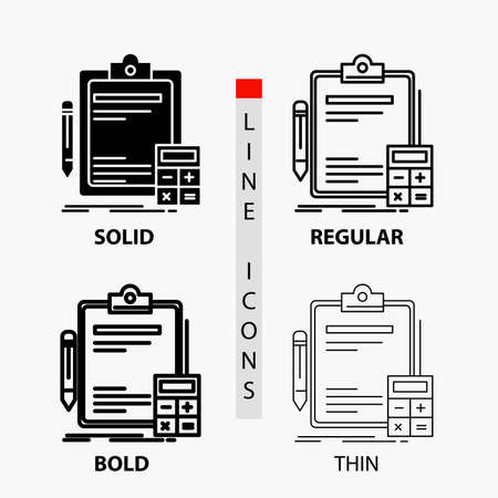 Accounting, banking, calculator, finance, Audit Icon in Thin, Regular, Bold Line and Glyph Style. Vector illustration Ilustração Vetorial