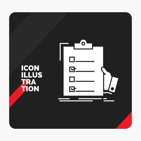 Red and Black Creative presentation Background for checklist, check, expertise, list, clipboard Glyph Icon Ilustração
