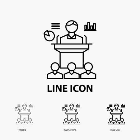 Business, conference, convention, presentation, seminar Icon in Thin, Regular and Bold Line Style. Vector illustration
