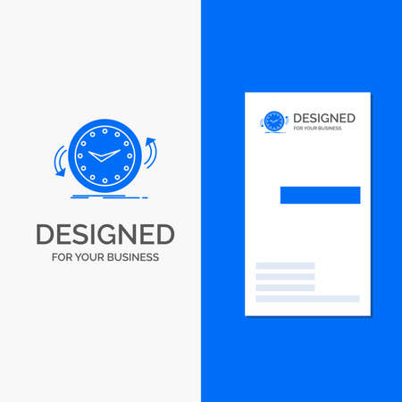 Business for Backup, clock, clockwise, counter, time. Vertical Blue Business / Visiting Card template.
