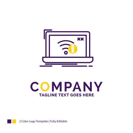 Company Name Design For connection, error, internet, lost, internet. Purple and yellow Brand Name Design with place for Tagline.