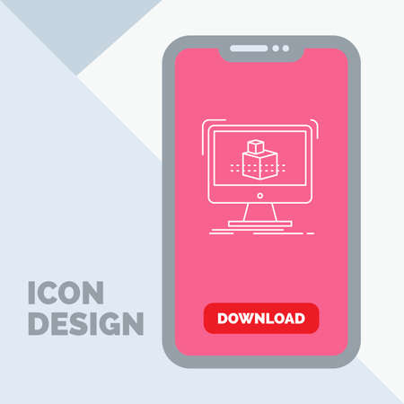 3d, cube, dimensional, modelling, sketch Line Icon in Mobile for Download Page