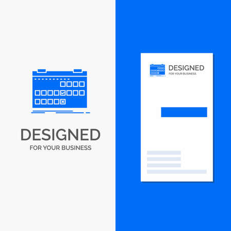 Business for Calendar, date, event, release, schedule. Vertical Blue Business / Visiting Card template.