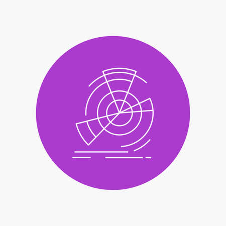 Data, diagram, performance, point, reference White Line Icon in Circle background. vector icon illustration Ilustração