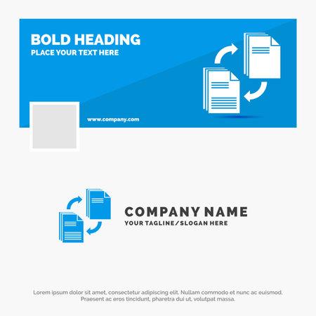 Blue Business Template for sharing, share, file, document, copying. Timeline Banner Design. vector web banner background illustration