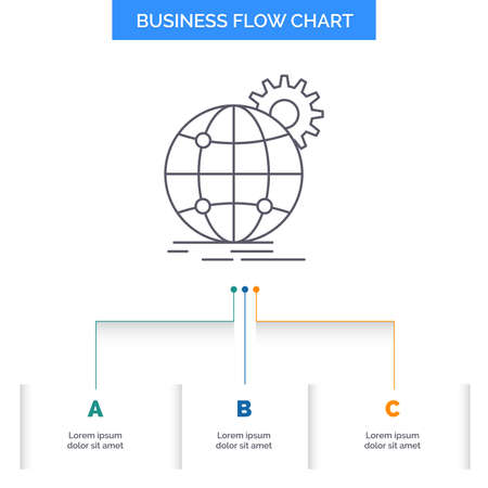 international, business, globe, world wide, gear Business Flow Chart Design with 3 Steps. Line Icon For Presentation Background Template Place for text